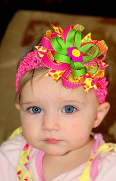 baby bow/ baby hair bow/ ribbon flower hairbow/ infant headband/ pink/yellow/green hair bow/ baby headband/ toddler hairbow via Etsy Baby Girl Hair, Baby Hair Bows, Ribbon Hair Bows, Bow Hair Clips, Baby Headbands, Ribbon Flower, Flower Hair, Making Hair Bows, Bow Making