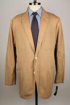NWT New Polo Ralph Lauren Tan 100% Cotton 2XB 50 L mens Sport Coat