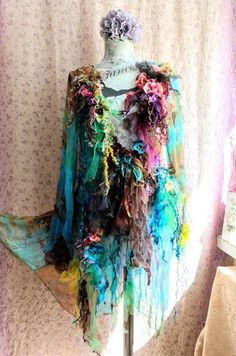 Bohemian jacket transparent tattered fairy embellished altered couture wearable art gypsy romantic Reworked jacket with:silk,soft tulle,silk flowers,hand dyed vintage crocheted pieces,lace,vintage beaded trims. One of a kind Size M/L Bust 100cm /39 inches