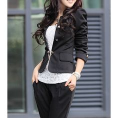 Ladylike Style Bow Tie Puff Sleeves Solid Color Polyester Double-Breasted Women's Blazer