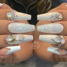 Beautiful nail art designs that are just too cute to resist. It's time to try out something new with your nail art. Glam Nails, Fancy Nails, Bling Nails, Love Nails, My Nails, Bling Wedding Nails, Wedding Manicure, Bling Bling, Fabulous Nails
