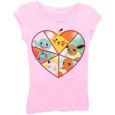 Pokemon Girls' Heart Short Sleeve Crew Neck Graphic Tee, Size: Large, Pink