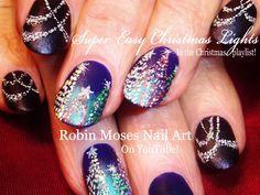 Christmas Lights At Night Nail Art Design | Holiday Bling Nails Tutorial