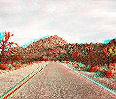 Untitled (Road), Joshua Tree, CA by James Ryang, Stereoscopic C-print Edition of 10. Artwork includes a pair of 3D glasses. Available at HomeMade NYC