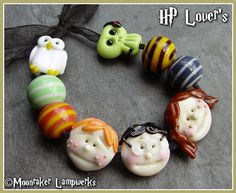 Hand made lampwork beads in Harry Potter themes