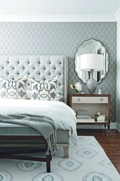 Chatelaine - bedrooms - blue and gray room, blue and gray bedroom, trellis wallpaper, gray trellis wallpaper, accent wall, bedroom accent wa...