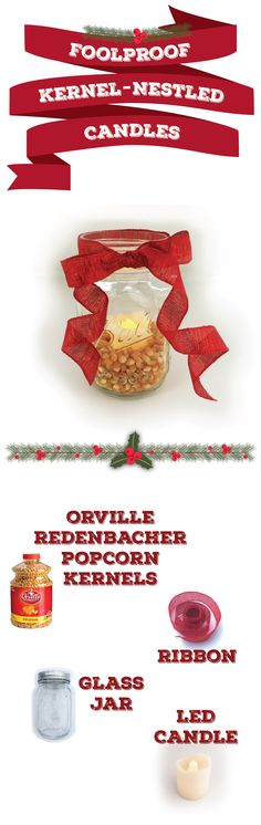 6 holiday decorations that really pop | easy DIY popcorn decorations | can't go wrong with candles & mason jars!