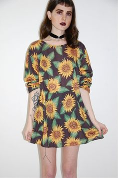 sun flower see thought dress