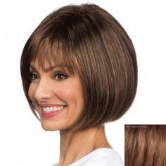 Elegant Neat Bang Capless Trendy Short Bob Style Straight Real Natural Hair Wig For Women #men, #hats, #watches, #belts, #fashion, #style