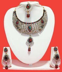 Breathtaking Red & Green Necklace  Item code: JSWT115B https://twitter.com/bharatplaza_in  https://www.facebook.com/bharatplazaindianbridal