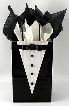 Learn how to make this very cute tuxedo gift bag for your groomsmen gifts!