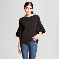 e40b7389a4 Women s Scuba Crepe Top with Double Ruffle Sleeve - Vanity Room   Target  Vanity Room