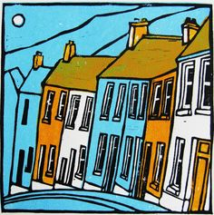 Valley Houses Linocut