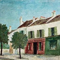 (1) Vintage 1950s Utrillo Art Print - Bistros in a Suburb 11x14 - Abrams A – In The Vintage Kitchen Shop Painting Prints, Art Prints, Paintings, Paris Neighborhoods, Architectural Pattern, Bistros, New York Art, Artist At Work, Art World