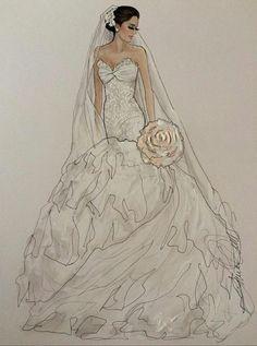 () Wedding Dress Illustrations, Wedding Dress Sketches, Dream Wedding Dresses, Designer Wedding Dresses, Fashion Images, Fashion Art, Fashion Beauty, Fashion Design, Fashion Drawing Dresses