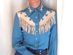 Vintage Ranch Maid shirt with leather applique and fringe