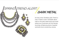 Spring #jewelry trend alert, dark metal! mark. Hang Tough Necklace, Color Pop Cuff, & Style Surge Earrings! #springtrends #neon
