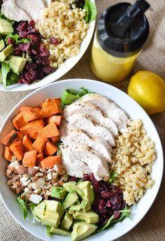 Chicken and Rice Salad Bowls with Tumeric Tahini Dressing - itsaflavorfullife.com [chicken baked in foil!]