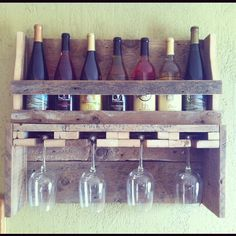 Rustic reclaimed wood wine rack and shelf with glass holder - Reclaiming America $85