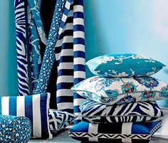 Diane von Furstenberg's Chic New Collection of Textiles. A selection of blue printed fabrics, designed by DVF, can be mixed and matched. #dvf