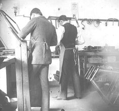 Wright brothers at work at their bicycle shop.