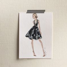 Fashion illustration by Brooke Hagel @brooklit inspired by an @Asos dress sitting in the closet.