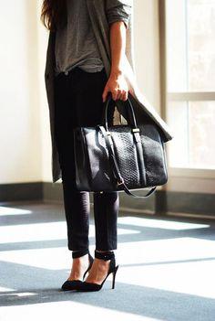Slub grey t-shirt, black ankle length pants, collar heels, oversized bag.  Minimalist Style: Gray Oversized Long Coat + Skinny Jeans by Hallie Daily