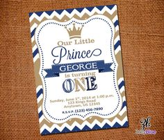 Little Prince Birthday Invitation Vertical by ZoeyBlueDesigns