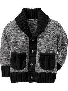 Shawl-Collar Cardigans for Baby Baby Boy Knitting Patterns Free, Baby Sweater Knitting Pattern, Knitting For Kids, Free Knitting, Baby Boy Sweater, Knit Baby Sweaters, Boys Sweaters, Toddler Boy Fashion, Toddler Boys