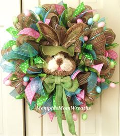 Easter Bunny Deco Mesh Wreath - Deco Mesh Wreath - Easter Wreath by MemphisMomWreaths on Etsy https://www.etsy.com/listing/223405747/easter-bunny-deco-mesh-wreath-deco-mesh Deco Mesh Wreaths, Door Wreaths, Wreaths And Garlands, Spring Wreaths, Christmas Wreaths, Easter Wreaths, Summer Wreath, Easter Decor, Easter Ideas
