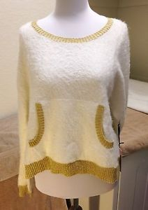 Juicy Couture Snow White Velvet Crush Sweater Size Large Gold Metallic Trim | eBay