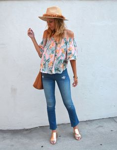 Las Vegas Outfit Roundup - Jaclyn De Leon Style   bohemian off the shoulder top palm leaf top with crop denim and rose gold mules   casual modern street style   summer outfit inspiration