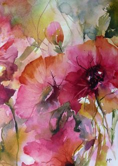 Painting by Véronique Piaser-Moyen (France) via Watercolor And Ink, Watercolor Flowers, Watercolor Paintings, Watercolours, Abstract Flowers, Painting Inspiration, Flower Art, Painting & Drawing, Artwork