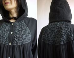 Hoodies Women Top - Full Lined Long Sleeve Black Light Cotton Boho Blouse With Handed Embroidery - AT316