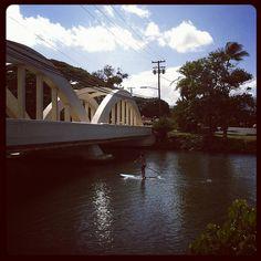 #StandupPaddling under the #Haleiwa #Bridge in the beautiful #Oahu #Hawaii!