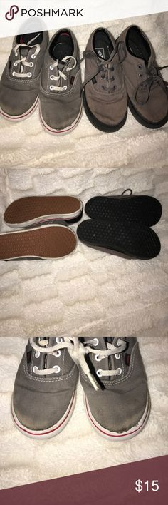 Two toddler vans Two vans. Soles in good condition. Normal wear. Grey//black ties up. Grey/black/red tie up. Vans Shoes