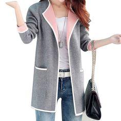 2016 inverno magro médio longo casacos de lã casaco de retalhos de mangas compridas grandes bolsos das mulheres moda tricô…