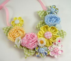 Fabric Flower Bib Necklace 2 PDF Tutorial ... NEW ... Includes 3 flower tutorials. $18.00, via Etsy.
