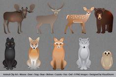 Woodland Animals Clip Art. Printables. $8.00