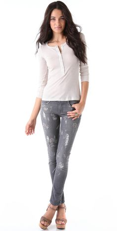 Haute Hippie Embroidered Skinny Jeans | 15% off first app purchase with code: 15FORYOU
