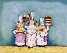 Desserts Are Served II by Tracy Flickinger Framed Fine Art Print Fabric Painting, Watercolor Paintings, Kids Canvas, Pastry Art, Le Chef, Blue Art, Chefs, Retro, Illustrations Posters