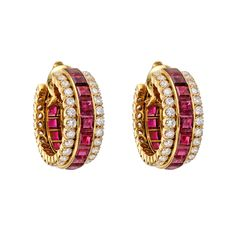 Van Cleef & Arpels Invisible-Set Ruby & Diamond Hoop Earclips | Betteridge