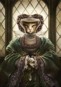 Anne Of Sleeves - Artist paints historical figures as cats