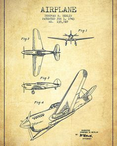Airplane Patent Drawing From 1943-vintage Poster by Aged Pixel. All posters are professionally printed, packaged, and shipped within 3 - 4 business days. Choose from multiple sizes and hundreds of frame and mat options. #patentdrawing