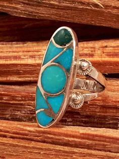 Sleeping Beauty Turquoise Ring Sz 6 Inlaid by 22toddities on Etsy