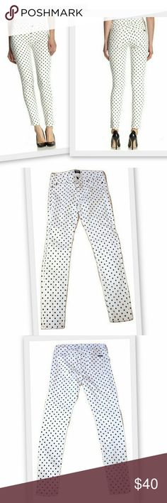 """Hudson Nico Cloud Nine Dotted Jeans Hudson Nico Cloud Nine Dot super skinny jeans in black and white polka dot denim. Fitted through skinny legs. Five pocket style.  These are brand new and were never worn, but there is a very faint smudge on the front as shown in photo number 5.  It isn't noticeable without very close inspection.  Mid rise.  93% cotton 5% polyester 2% lycra Made in Los Angeles  Size 28 Waist 32"""" Hips 35"""" Inseam 30"""" Rise 9"""" Leg Opening 10"""" Hudson Jeans Jeans Skinny"""