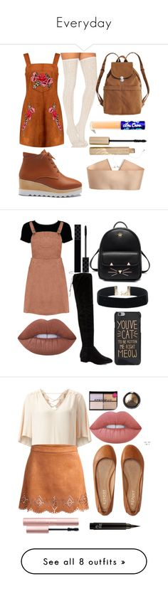 """""""Everyday"""" by adahitch ❤ liked on Polyvore featuring Free People, Boohoo, BAGGU, H&M, Lime Crime, Stila, socks, limecrime, thighhigh and overtheknee"""
