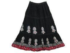 "Peasant Skirt Black Red Printed Long Skirt Gypsy Bohemian Skirts, Length 35"" Mogul Interior,http://www.amazon.com/dp/B00BVWIR1A/ref=cm_sw_r_pi_dp_aLYtrbC8ED204AAE"