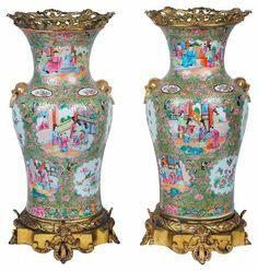 Par de vasos em porcelana Chinesa de Cantao do sec.19th, 48cm de altura, 3,720 USD / 3,360 EUROS / 12,090 REAIS / 24,930 CHINESE YUAN