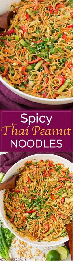 Spicy Thai Peanut Noodles - once you try these you will CRAVE them all the time! Easy to make and amazing flavor!